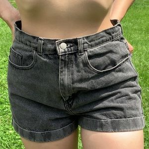 Black American Apparel high waist denim cuff short